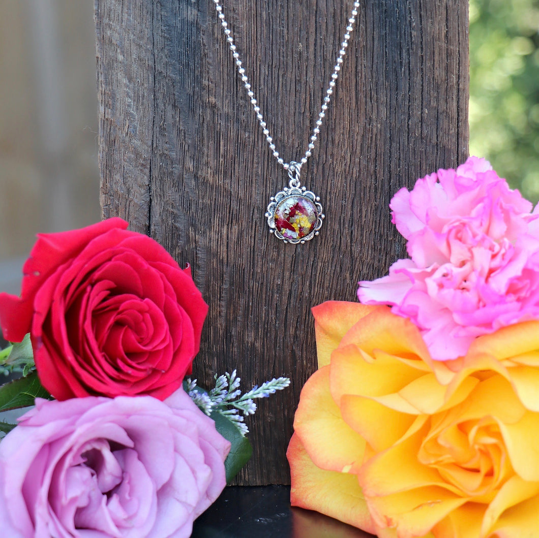 Memory Flower Jewelry | Small Ornate Necklace