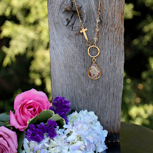 Memory Flower Jewelry | Long Asymetrical Necklace