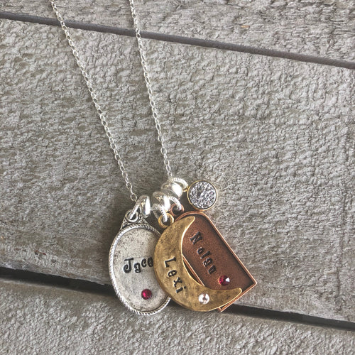 Personalized Jewelry | Mixed Metal Charm Necklace