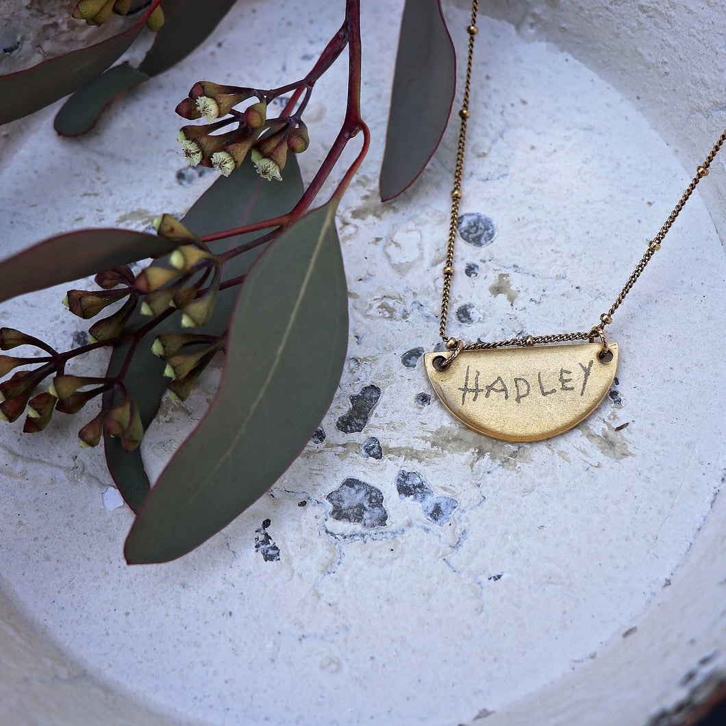 Handwriting Jewelry | Semi Circle Necklace
