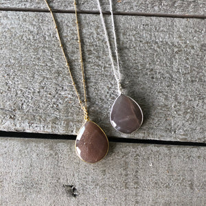 Gemstone Jewelry | Chocolate Moonstone Drop Necklace
