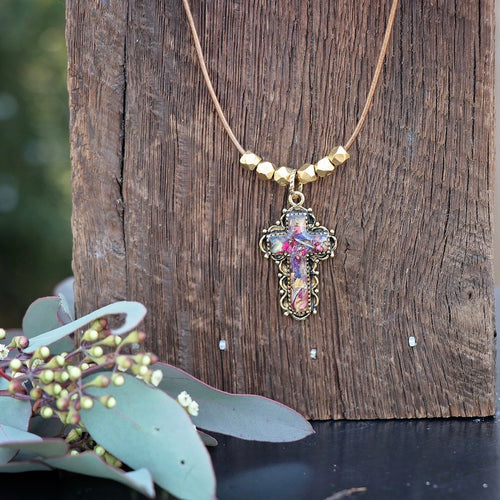 Memory Flower Jewelry | Leather Cross Necklace