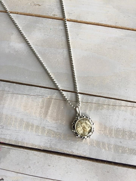 Small Ornate Memory Flower Necklace