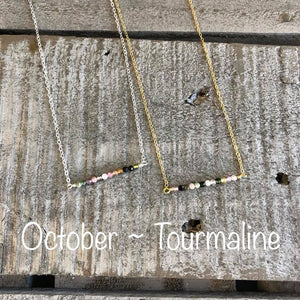 Tourmaline birthstone bar necklace