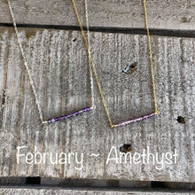 Load image into Gallery viewer, Amethyst birthstone bar necklace