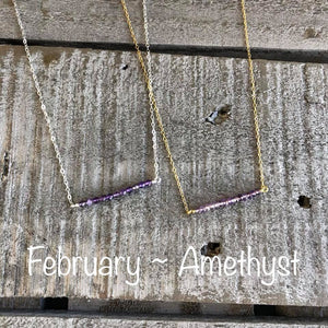 Amethyst birthstone bar necklace