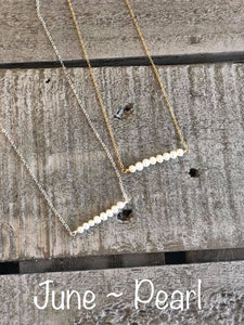 pearl birthstone bar necklace