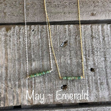 Load image into Gallery viewer, emerald birthstone bar necklace
