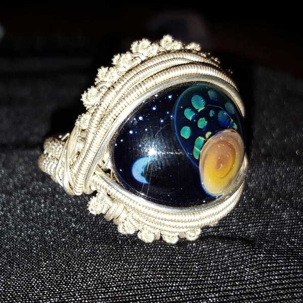Wire - Hand blown glass Space ring