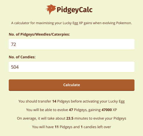 Pokemon GO Pidgey Calculator