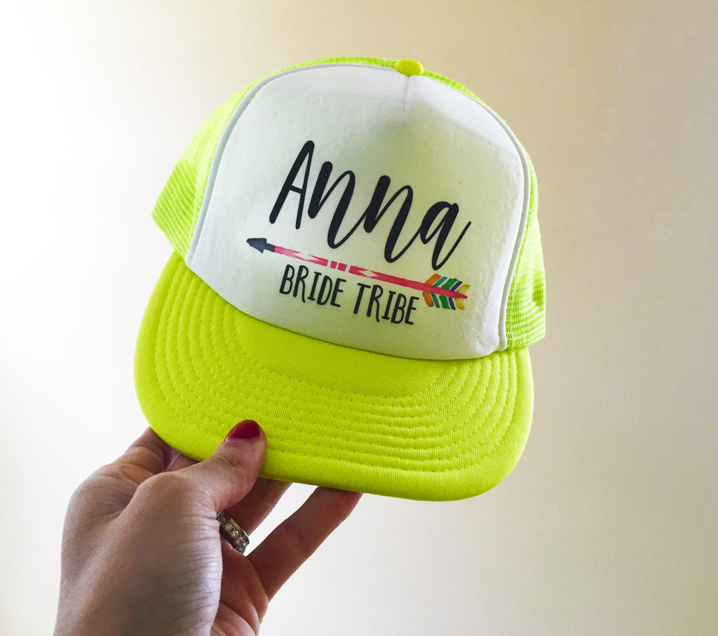 Bachelorette Hats Neon Colors with NAME and Bride Tribe – MJ s ... 084420bbc7cc