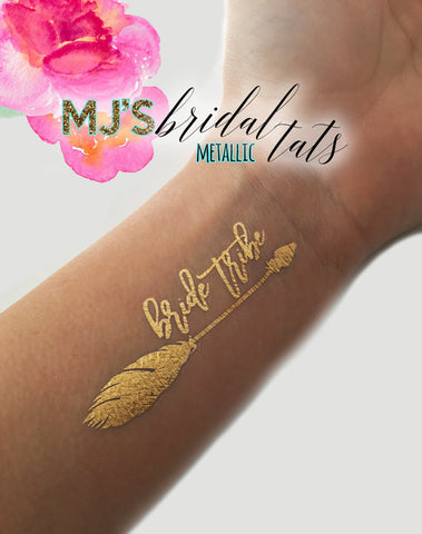 METALLIC BOHO ARROW TEAM BRIDE TATTOO