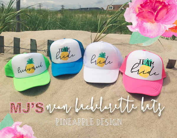 Pineapple Bachelorette Neon BRIDAL Trucker Hats – MJ s BRIDAL SUPPORT 6e038e83f055