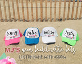 Bachelorette Hats Neon Colors with NAME and Bride Tribe