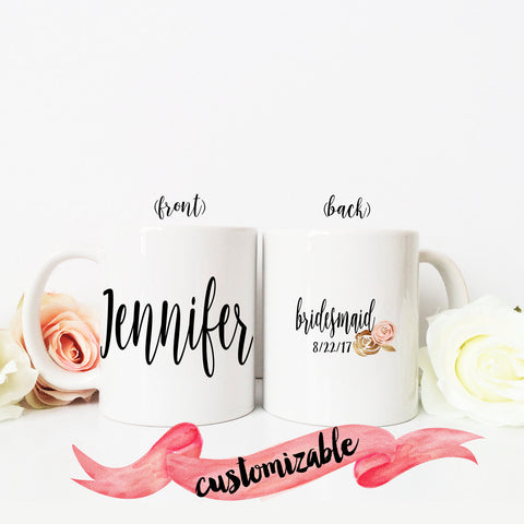 Bridesmaid Name Mug with Back