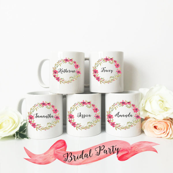 Bridesmaid Name Wreath Mug