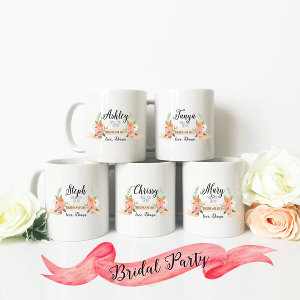 Bridesmaid Proposal Peachy Banner Mug
