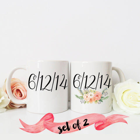 Save the Date Mugs with Custom Date