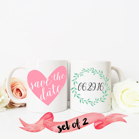 Save the Date Mugs Heart and Wreath
