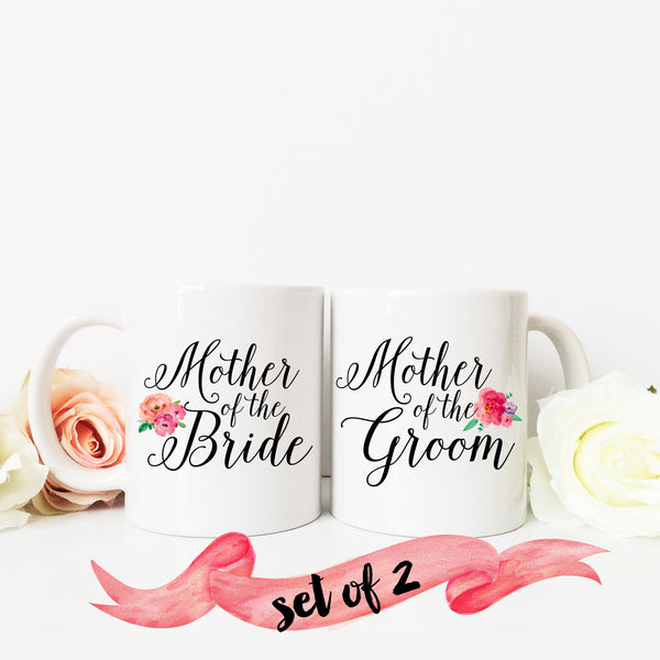 Mother of the Bride & Groom Script Mugs