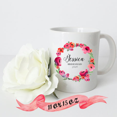 Bridesmaid Floral Wreath Mug