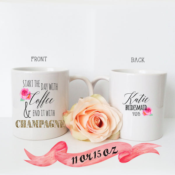 Bridesmaid Mug Save Coffee Drink Champagne