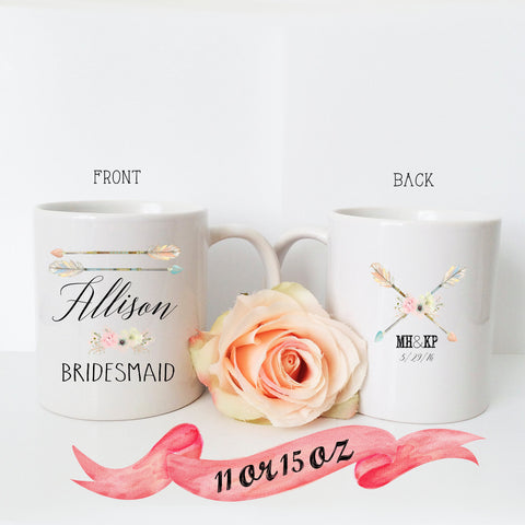 Bridesmaid Name Mug with Boho Arrows & Back