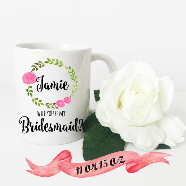 Bridesmaid Proposal Wreath Mug