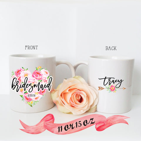Bridesmaid Floral Heart Mug