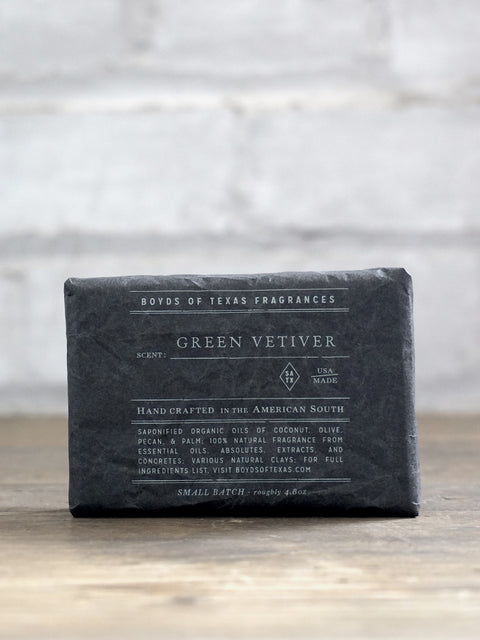 Handmade Charcoal Soap Bar - Green Vetiver - Boyds of Texas