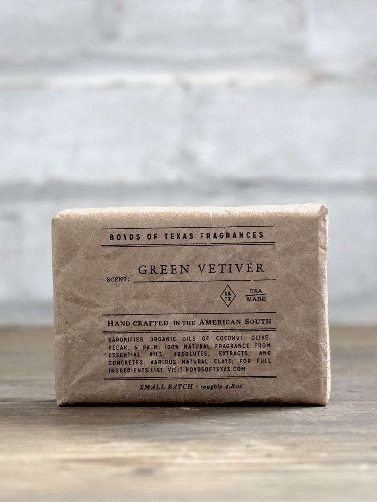 Handmade Natural Soap Bar - Green Vetiver - Boyds of Texas