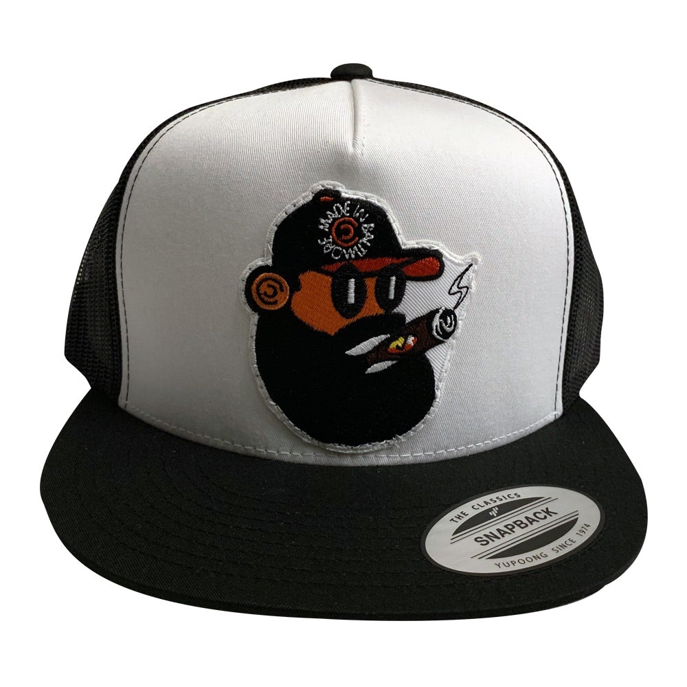 Bearded Cigar Smoker on Blk/Wht Snapback