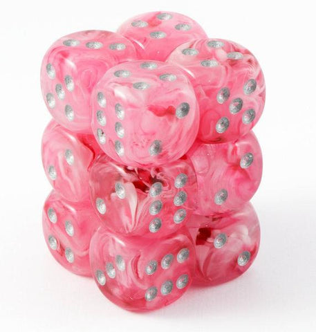 CHX27724 Ghostly Glow Pink with Silver 16mm d6 Dice Block(12 d6)* - Leisure Games