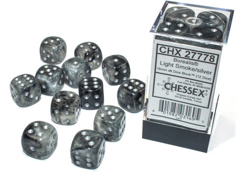 CHX27778 Borealis 16mm d6 Luminary Dice Block: Light Smoke/silver (12 Dice)