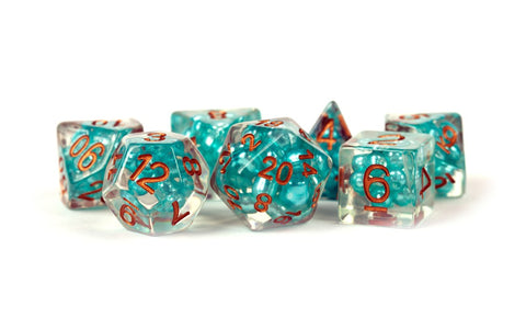 16mm Resin Pearl Dice Poly Set Teal w/ Copper Numbers