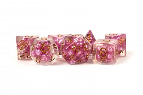 16mm Resin Pearl Dice Poly Set Pink w/ Copper Numbers