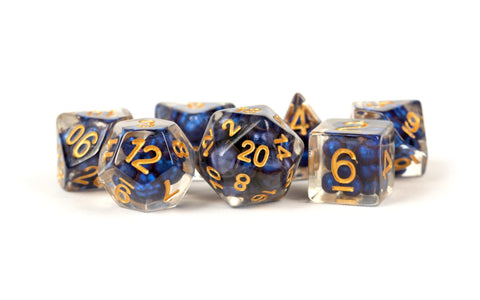 16mm Resin Pearl Dice Poly Set Royal Blue w/ Gold Numbers