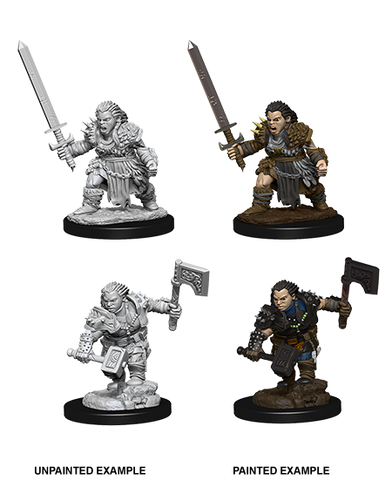 WZK73694: Female Dwarf Barbarian: Pathfinder Deep Cuts Unpainted Miniatures (W8) - pre-order expected May 2019