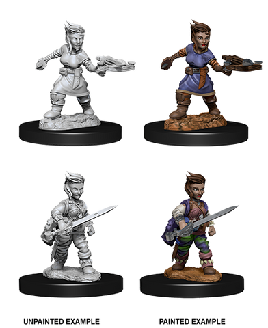 WZK73695: Female Halfling Rogue: Pathfinder Deep Cuts Unpainted Miniatures
