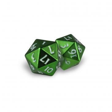 D20 Heavy Metal Dice: Emerald Frost