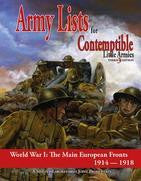 Contemptible Little Armies 3rd Edition: Army Lists The Main European Fronts - Leisure Games