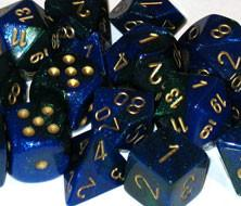 CHX26436 Gemini Blue-Green with Gold Polyhedral 7-Die Set* - Leisure Games