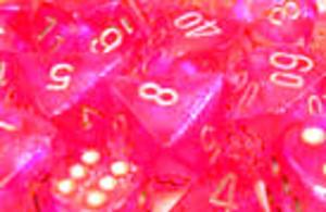 CHX27604 Boreails Pink/Silver 16mm d6 Dice Block (12 d6) - Leisure Games