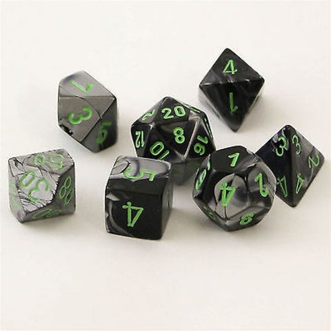CHX26445 Gemini Polyhedral Black-Grey with Green 7-Die Set