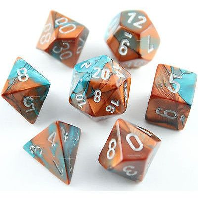 CHX26453 Gemini Copper-Teal with Silver Polyhedral 7-Die Set