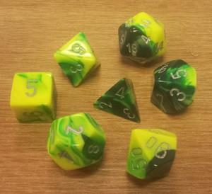 CHX26454 Gemini Green-Yellow with Silver numbers Polyhedral Dice Set (7 dice) - Leisure Games
