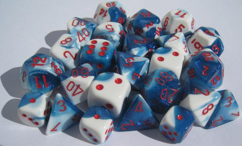 CHX26457 Gemini Astral Blue-White with Red Polyhedral 7-Die set - Leisure Games