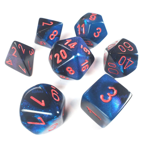 CHX26458 Gemini Starlight-Black with Red Polyhedral Dice Set - Leisure Games