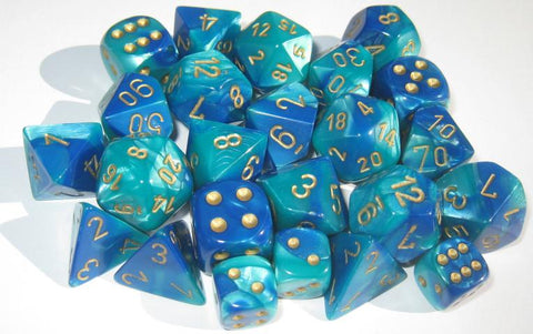 CHX26459 Gemini Blue-Teal with Gold Polyhedral 7-Die Set - Leisure Games