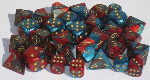 CHX26462 Gemini Red-Teal with Gold Polyhedral 7-Die Set - Leisure Games